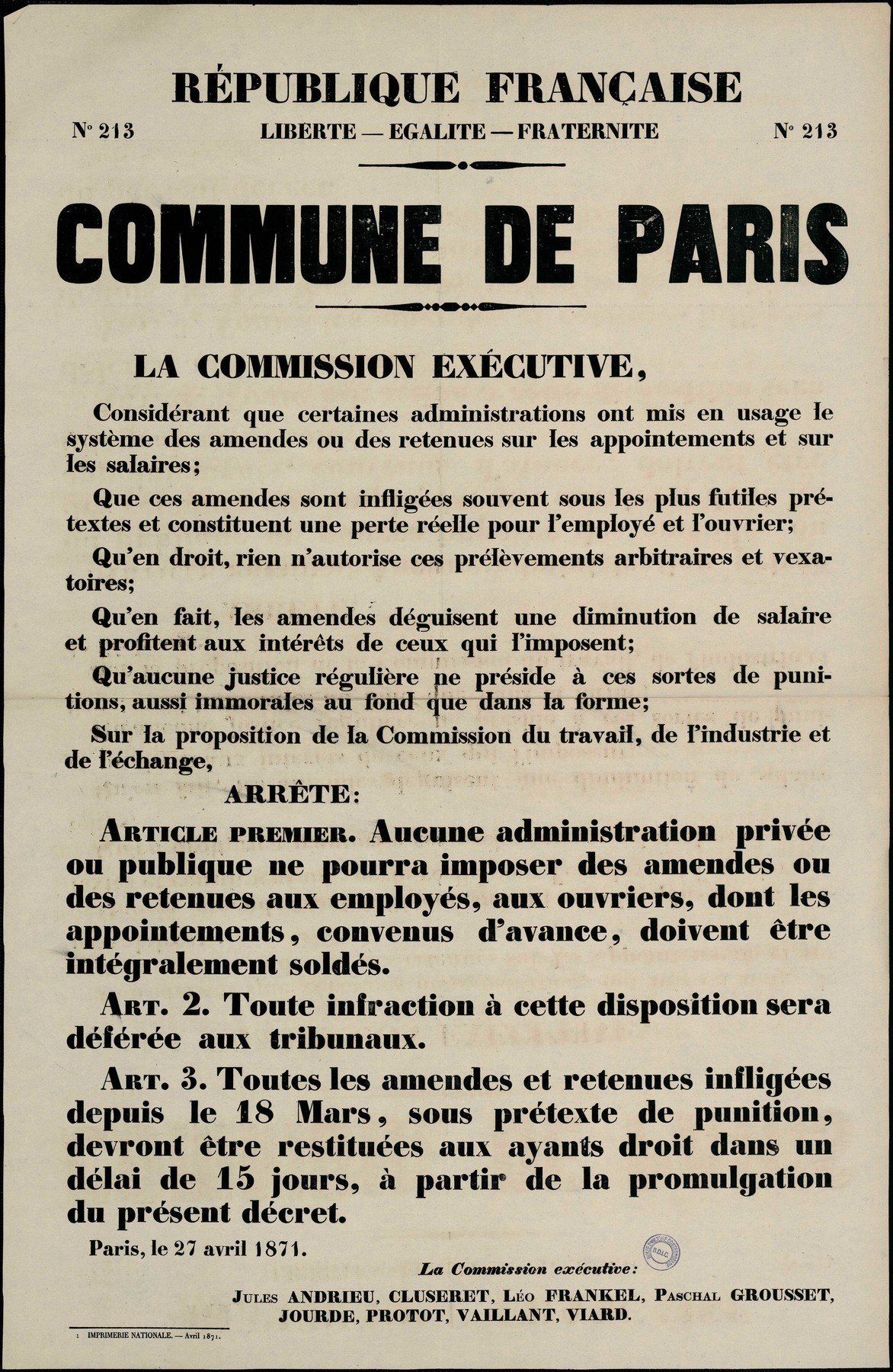 Affiche de la Commune de Paris N° 213 du 27 avril 1871 - Commission exécutive de la Commune