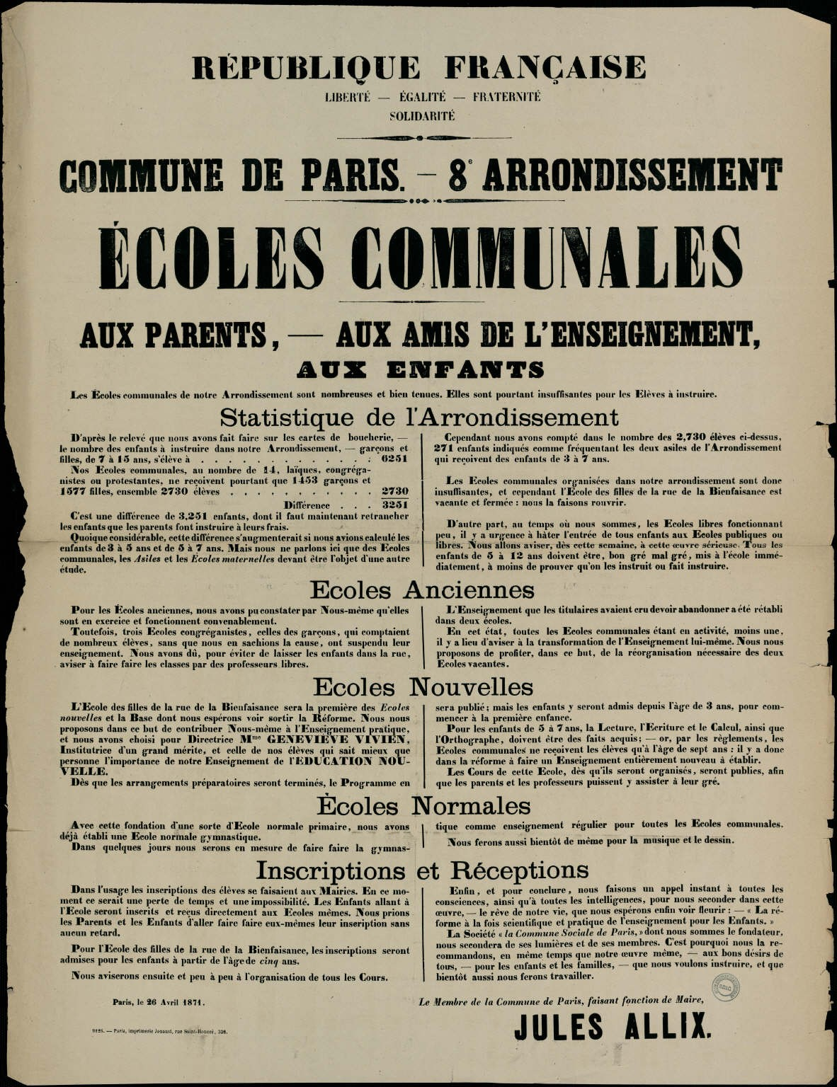 Affiche de la Commune de Paris, 26 avril 1871, Paris VIIIe, signée Jules Allix